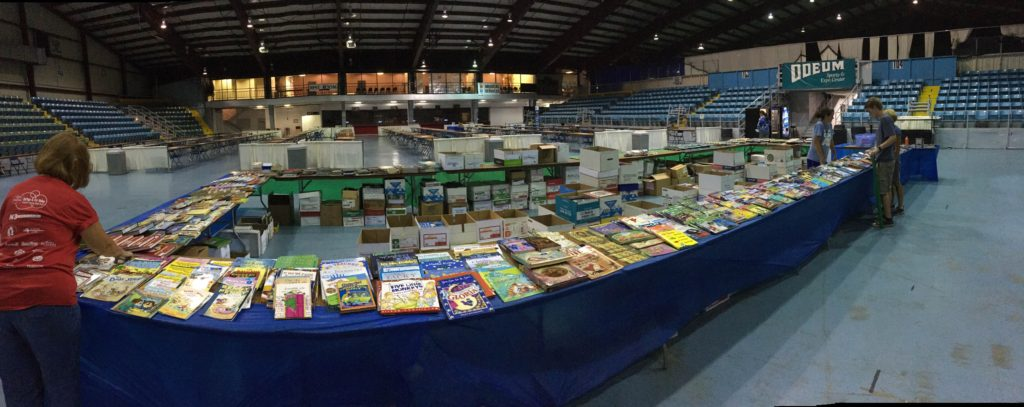 SCARCE tables full of books and ready to go!