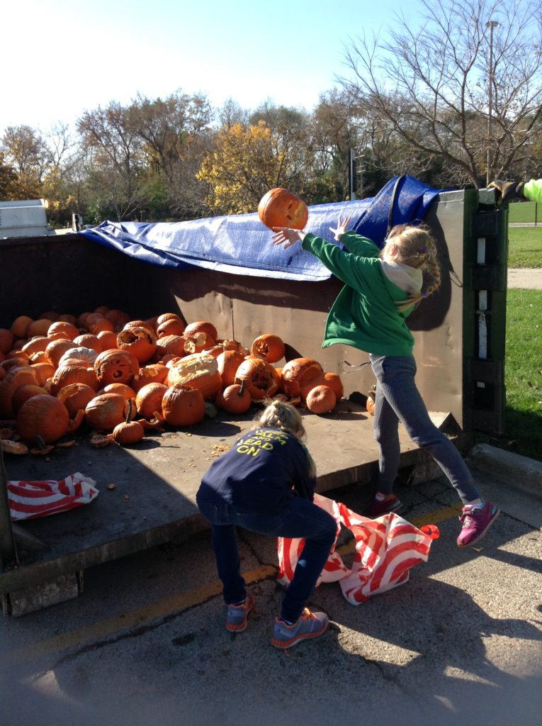 Kids in Evanston Chuck their Pumpkins