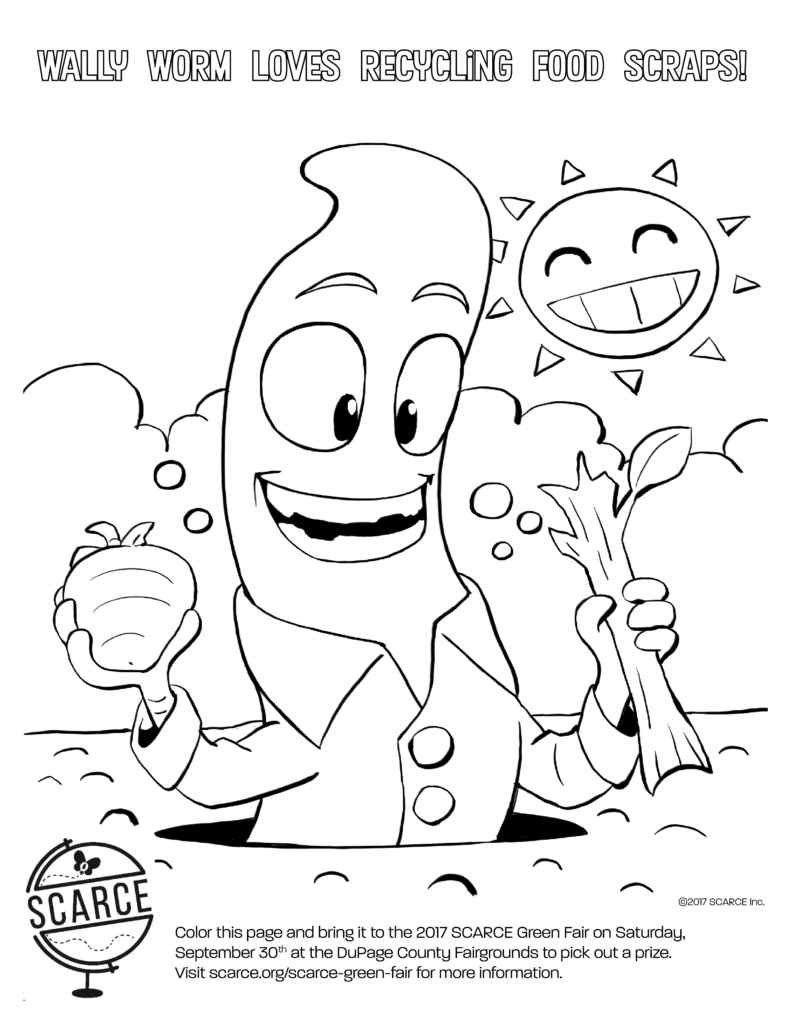 wally worm coloring page scarce