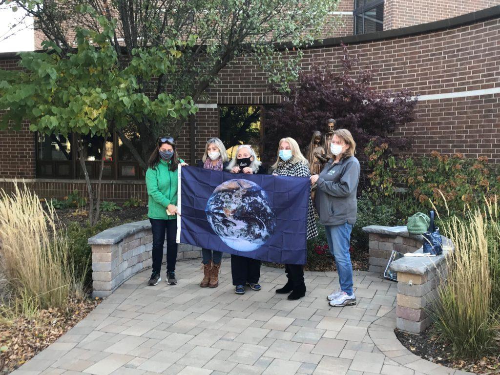 st. james the apostle catholic school glen ellyn awarded earth flag outdoor ceremony october 2020